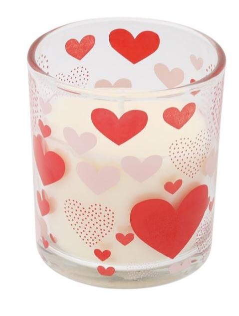 Lumanare parfumata in pahar, 7x7.5 cm, Red Hearts, Topi Dreams