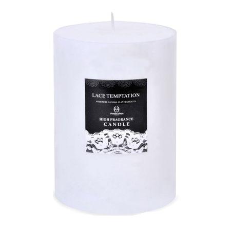 Lumanare parfumata cilindrica White Melon, diametru 10 cm, alba, Topi Dreams