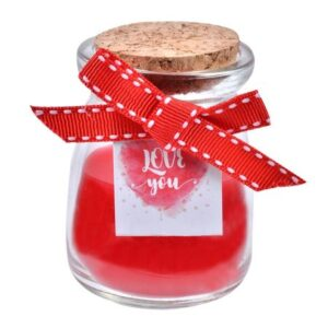 Lumanarica parfumata in pahar cu dop, cu funda rosie si mesaj, 5x8 cm, Topi Dreams