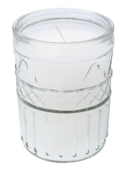 Lumanare parfumata in pahar cu model in relief, 9x12 cm, alb, Topi Dreams